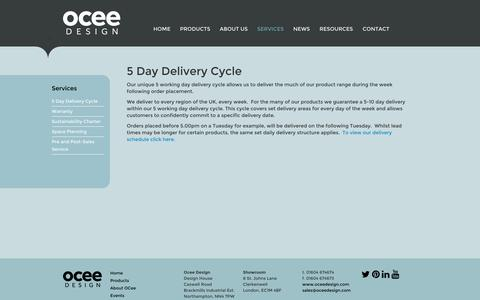 Screenshot of Services Page oceedesign.com - OCee Design - 5 Day Delivery Cycle - captured Oct. 9, 2014