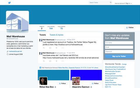 Screenshot of Twitter Page twitter.com - Mail Warehouse (@mailwarehouse) | Twitter - captured Oct. 23, 2014