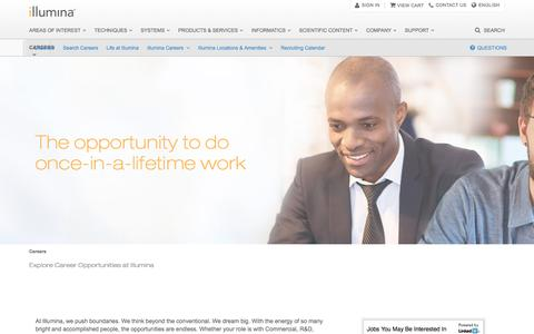 Screenshot of Jobs Page illumina.com - Careers | The opportunity to do once-in-a-lifetime work - captured June 1, 2016