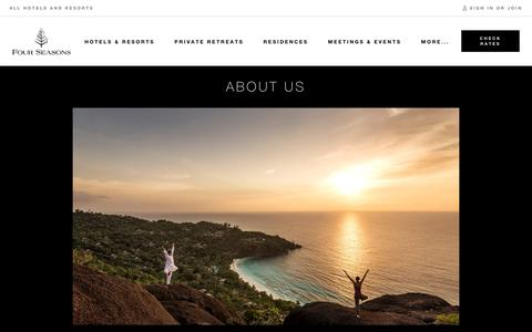 Screenshot of About Page fourseasons.com - About Four Seasons | Four Seasons Luxury Hotels & Resorts - captured July 12, 2019