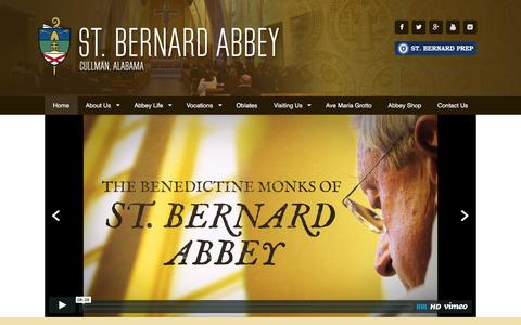 Screenshot of Home Page stbernardabbey.com - Home - St. Bernard Abbey - captured Feb. 22, 2016