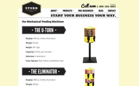 Screenshot of Products Page uturnvending.com - Vending Machines | Vending Machine manufactureres- U-Turn Vending - captured Sept. 30, 2014