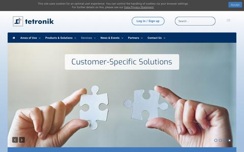 Screenshot of Services Page tetronik.com - Services - captured Oct. 20, 2018