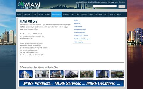 Screenshot of Locations Page miamire.com - Offices - captured June 27, 2017