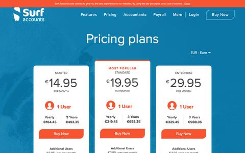 Screenshot of Pricing Page surfaccounts.com - Pricing Plans For Accounting Packages | Surf Accounts - captured Sept. 21, 2018