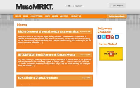 Screenshot of Press Page musomrkt.co.uk - News > MusoMRKT - captured Oct. 26, 2014