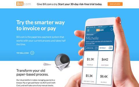 Screenshot of Landing Page bill.com - Bill.com - captured May 25, 2016
