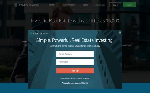 Screenshot of Signup Page realtyshares.com - Real Estate Crowdfunding & Investing | RealtyShares - captured April 11, 2016