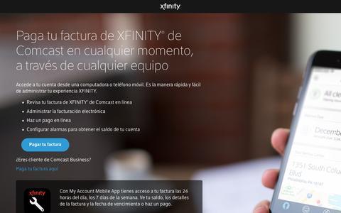 Screenshot of Landing Page xfinity.com - Pago de facturas Comcast, pagar mi factura XFINITY® en línea | Comcast - captured Dec. 29, 2016