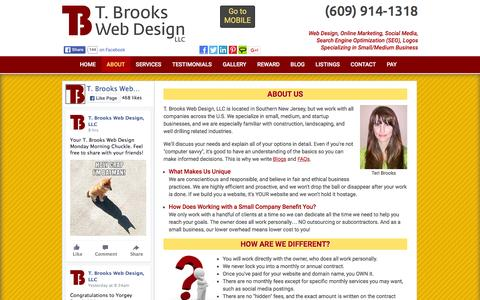 Screenshot of About Page tbrookswebdesign.com - T. Brooks Web Design LLC - Small Business Experts, One-on-One Service - captured Feb. 22, 2016
