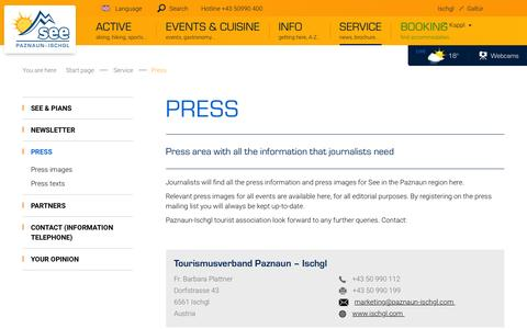 Screenshot of Press Page see.at - Press area for the holiday town of See - captured June 8, 2016