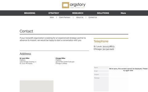 Screenshot of Contact Page orgstory.org - OrgStory Contact Information - captured Nov. 2, 2017