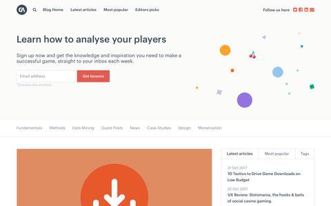 Screenshot of Blog gameanalytics.com - GameDev News, Tutorials & Interviews - GameAnalytics - captured Nov. 5, 2017
