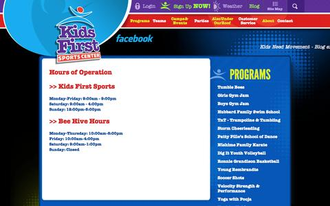 Screenshot of Hours Page kidsfirstsports.com - Hours of Operation | Contact | Kids First Sports Center - captured Oct. 6, 2014
