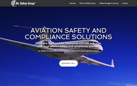 Screenshot of Home Page airsafetygroup.com - Expertise in Aviation Safety and Compliance Requirements - Air Safety Group, LLC – Eliminate management headaches with the only true one-stop aviation safety and compliance solution.  Air Safety Group is clearly your expert of choice for ensuring you - captured Sept. 10, 2015