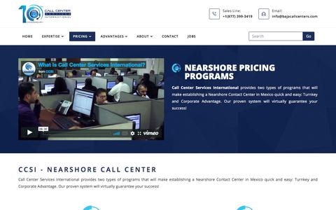 Screenshot of Pricing Page bajacallcenters.com - Call Center Services Pricing Programs | Call Center Services International | CCSI - captured Sept. 26, 2018