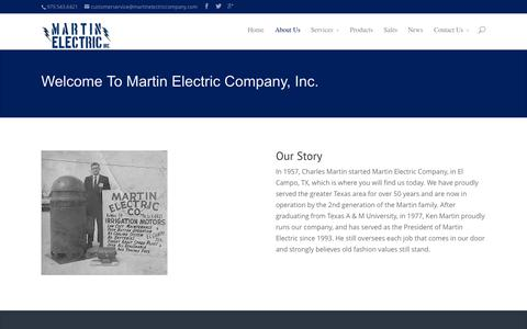 Screenshot of About Page martinelectriccompany.com - About Us | Martin Electric - captured Oct. 27, 2014
