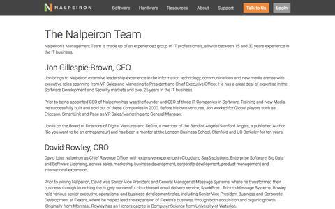 Screenshot of Team Page nalpeiron.com - Nalpeiron's Software Analytics and Licensing Management Team - captured April 26, 2017