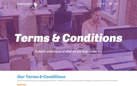 Screenshot of Terms Page innowatts.com - Terms and Conditions | InnoWatts - captured Aug. 5, 2016