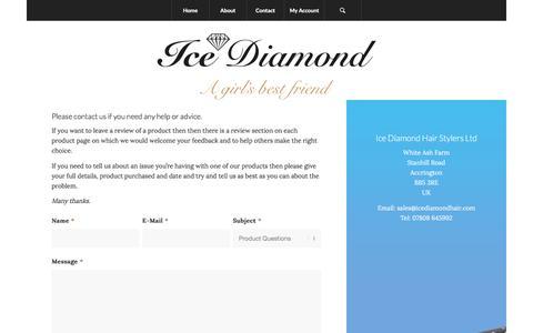 Screenshot of Contact Page icediamondhair.com - Ice Diamond Hair Straighteners |   Contact - captured Nov. 27, 2016