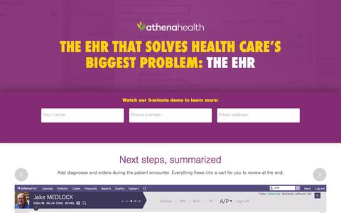 Screenshot of Landing Page athenahealth.com - Cloud-Based EHR and Practice Management Services | athenahealth - captured Dec. 10, 2015