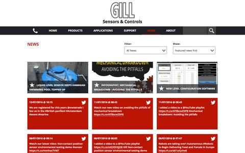 Screenshot of Press Page gillsc.com - News » Gill Sensors & Controls - Sensors for Harsh Environments - captured July 13, 2016