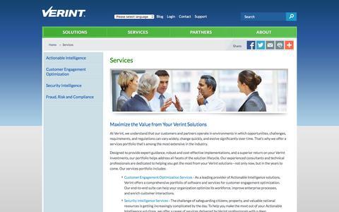 Screenshot of Services Page verint.com - Enterprise & Security Intelligence Services | Verint Systems - captured Dec. 4, 2015