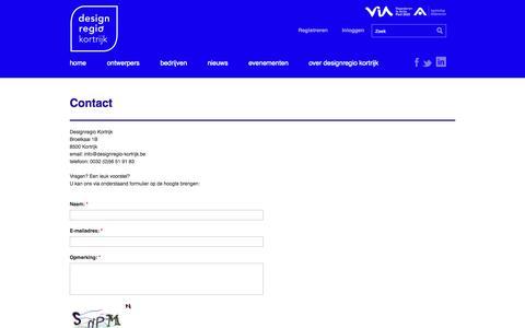 Screenshot of Contact Page designregio-kortrijk.be - Contact | Designregio Kortrijk - captured Oct. 27, 2014