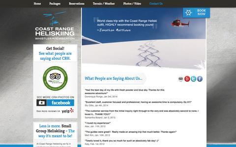 Screenshot of Testimonials Page coastrangeheliskiing.com - Testimonials - Coast Range Heliskiing - captured Sept. 30, 2014