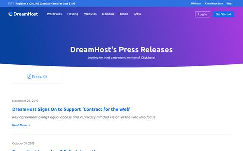 Screenshot of Press Page dreamhost.com - Press Releases  – DreamHost - captured Feb. 21, 2020