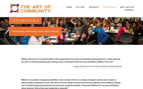 Screenshot of Testimonials Page theartofcommunity.org - Testimonials — The Art of Community - captured Feb. 15, 2016