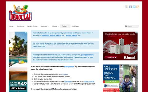 Screenshot of Contact Page mydemoulas.net - Contact Market Basket - captured Sept. 25, 2014