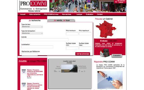 Screenshot of Home Page procomm.fr - Réseau PRO COMM, l'immobilier de l'entreprise et du commerce - captured Oct. 1, 2014