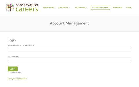 Screenshot of Login Page conservation-careers.com - Account Management Jobs - Conservation CareersJobs - captured July 15, 2016