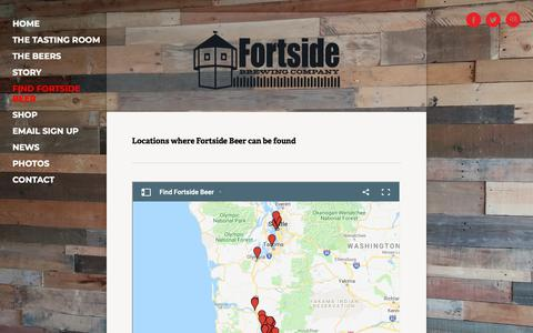 Screenshot of Locations Page fortsidebrewing.com - FIND FORTSIDE BEER — FORTSIDE BREWING COMPANY - captured Nov. 14, 2018