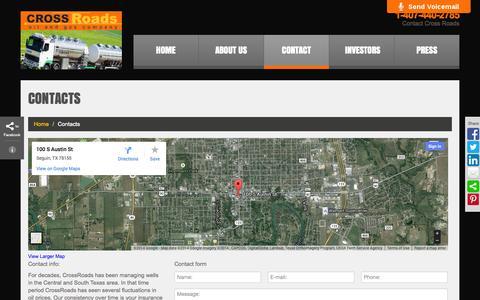 Screenshot of Contact Page crossroads-x.com - Contacts     Cross Roads - captured Oct. 1, 2014