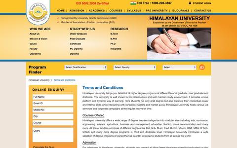 Screenshot of Terms Page himalayanuniversity.com - Himalayan University Terms and Conditions - captured May 20, 2017