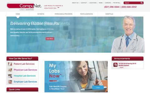 Screenshot of Home Page compunetlab.com - CompuNet | Clinical Laboratory Serving Southwest Ohio - captured Dec. 15, 2018