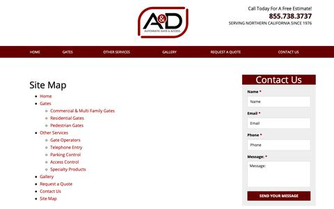 Screenshot of Site Map Page adautogate.com - Site Map   Sacramento Automatic Gate Installation - captured Sept. 30, 2018