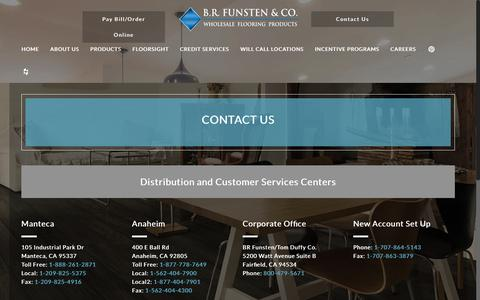 Screenshot of Contact Page brfunsten.com - Contact Us | Wholesale Flooring Products | B.R. Funsten & CO. - captured May 31, 2017