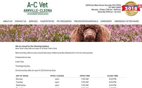 Screenshot of Hours Page a-cvet.com - Hours - Annville-Cleona Veterinary Associates, Inc. - Annville, PA - captured Oct. 31, 2018