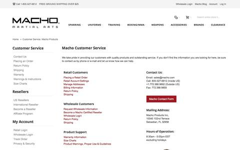Screenshot of Support Page macho.com - Customer Service. Macho Products - captured Nov. 21, 2017