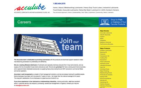 Screenshot of Jobs Page acculube.com - Careers - Acculube / Accurate Lubricants&Metalworking Fluids, Reduce Lubricant Costs - captured July 29, 2018