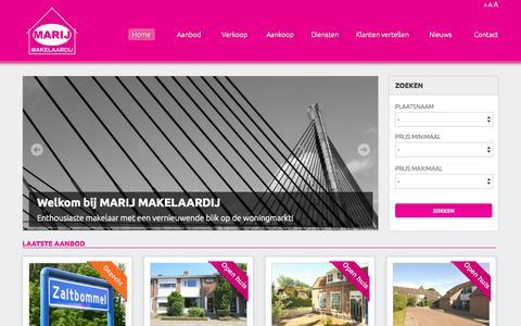 Screenshot of Home Page marijmakelaardij.nl - Marij Makelaardij - Dé makelaar van en voor Zaltbommel en omstreken!  - Home - captured Sept. 30, 2014