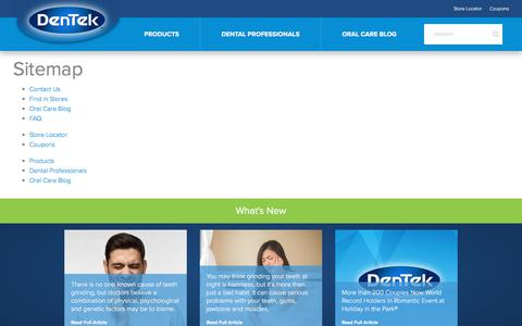 Screenshot of Site Map Page dentek.com - Sitemap | DenTek™ Oral Care - Night Mouth Guards - Pain Relief - Cleaners - captured Oct. 30, 2019