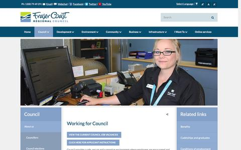 Screenshot of Jobs Page frasercoast.qld.gov.au - Working for Council - Fraser Coast Regional Council - captured Feb. 10, 2016