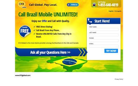 Screenshot of Landing Page 012global.com - Call Brasil - captured Oct. 27, 2014