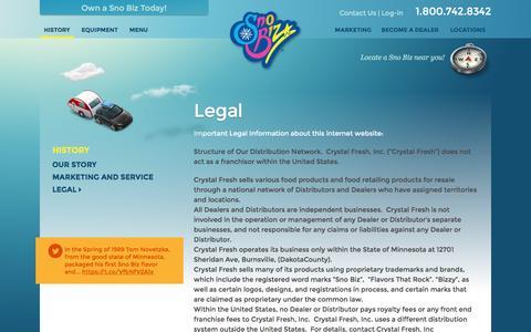 Screenshot of Terms Page snobiz.com - Legal Ç 1-800-SHAVE-ICE | Sno Biz 1-800-SHAVE-ICE | Sno Biz - captured Jan. 11, 2016