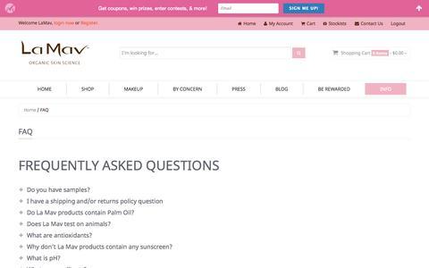 Screenshot of FAQ Page lamav.com - FAQ   La Mav Organic Skin Care Science - captured Sept. 22, 2014