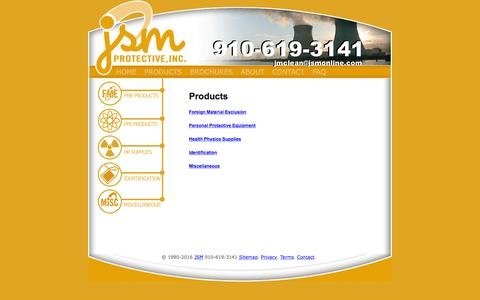 Screenshot of Products Page jsmonline.com - JSM's FME Bags & Covers Made in USA since 1990 - captured Nov. 26, 2016